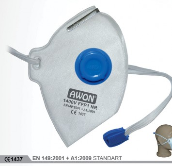 1400V FFP1 NR Katlanır Ventilli Solunum Koruyucu